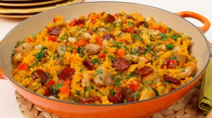 The traditional paella dish