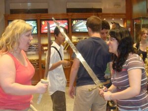 CK and I in the sword shop